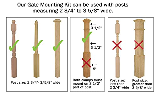 Safety Innovations No Hole Stairway Baby Gate Mounting Kit – Fits Posts from 2 3 4 inches to 3 5 8 inches Wide with Square or Round Tops – No Adhesives On Or Screws in Your Posts, 2-Pack