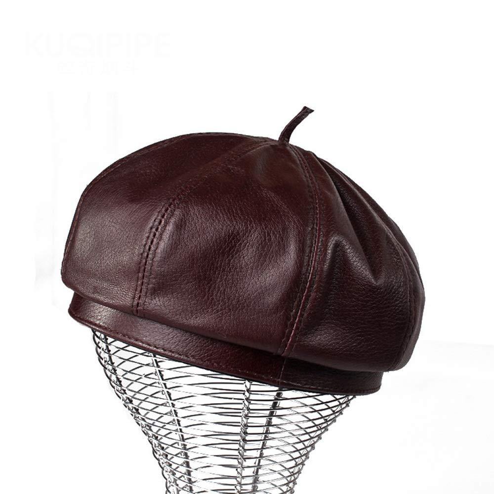 Dig dog bone Leather Beret Octagonal Hat Winter Autumn Hat Men and Women Hats (Color : Brown, Size : L)