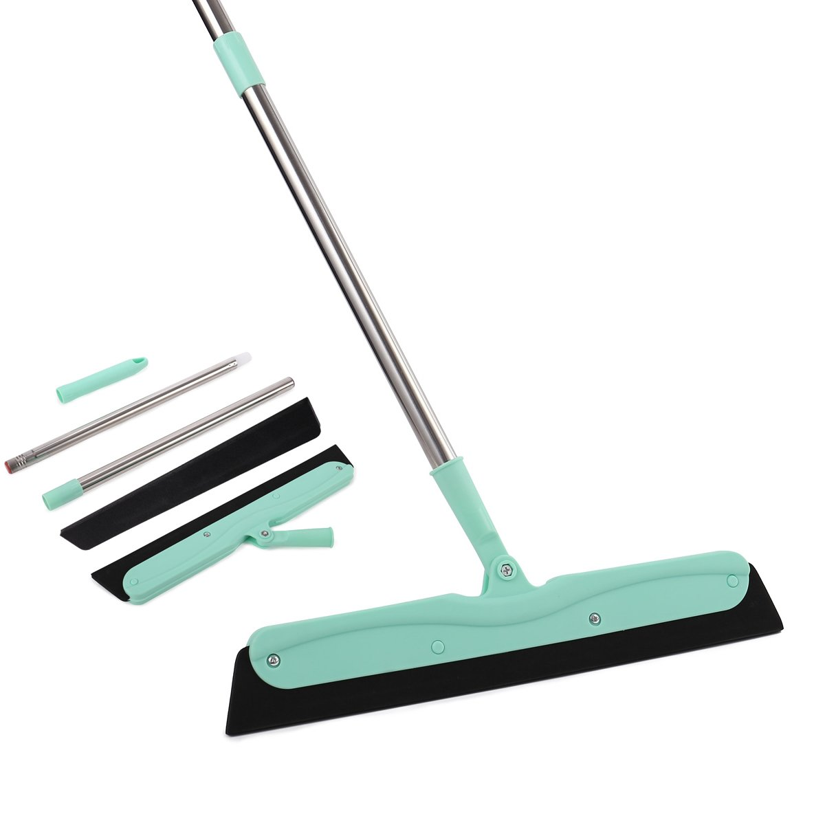 YCUTE Floor Squeegee with EVA Foam Blades (15'' Wide), 36'' Stainless Steel Long Handle, Swivelled Joint for Cleaning Glass Wood Tile Shower Stalls Cat/ Dog Fur on Carpet - Mint Green