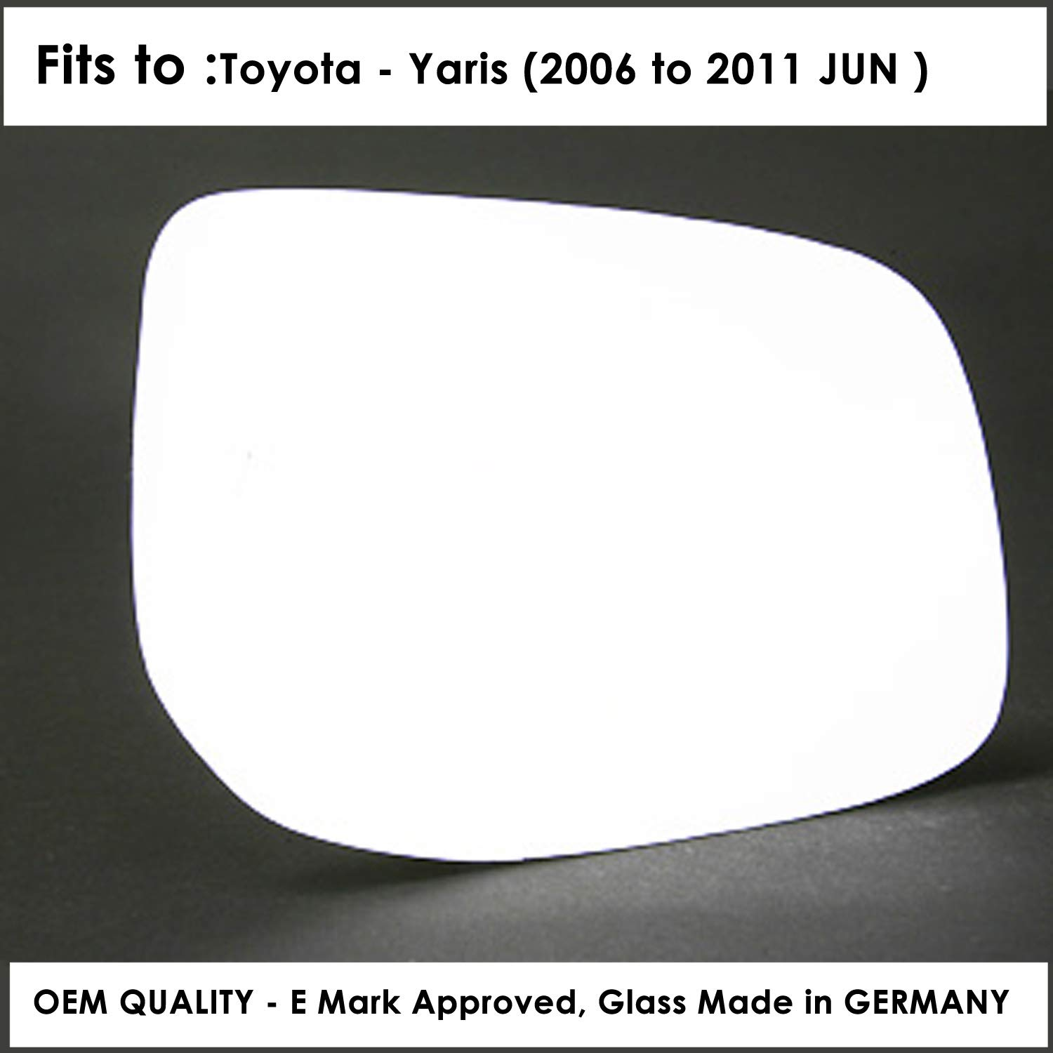 TOYOTA AYGO 2005-/>2014 DOOR//WING MIRROR GLASS SILVER,NON HEATED /& BASE RIGHTSIDE