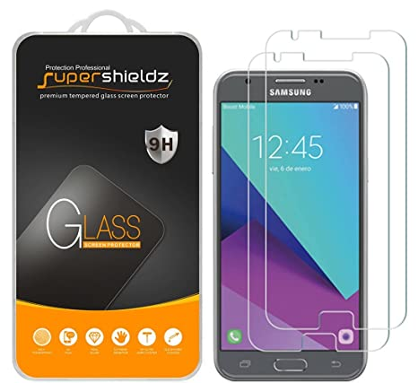 (2 Pack) Supershieldz for Samsung (Galaxy J3 Eclipse) Tempered Glass Screen  Protector Anti Scratch, Bubble Free