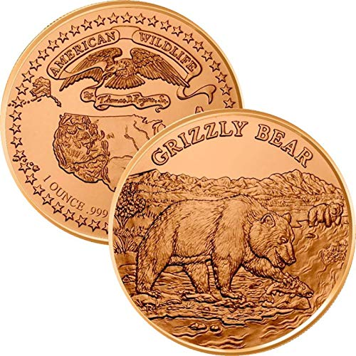 Jig Pro Shop American Wildlife Series 1 oz .999 Pure Copper Round/Challenge Coin (Grizzly Bear)