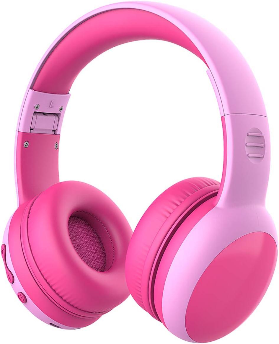 Auriculares Bluetooth para niños, Auriculares Plegable para niños con 85dB Volumen Limitado, Auriculares Ajustable y Plegable con micrófono, niñas y niños - Rosa New Version