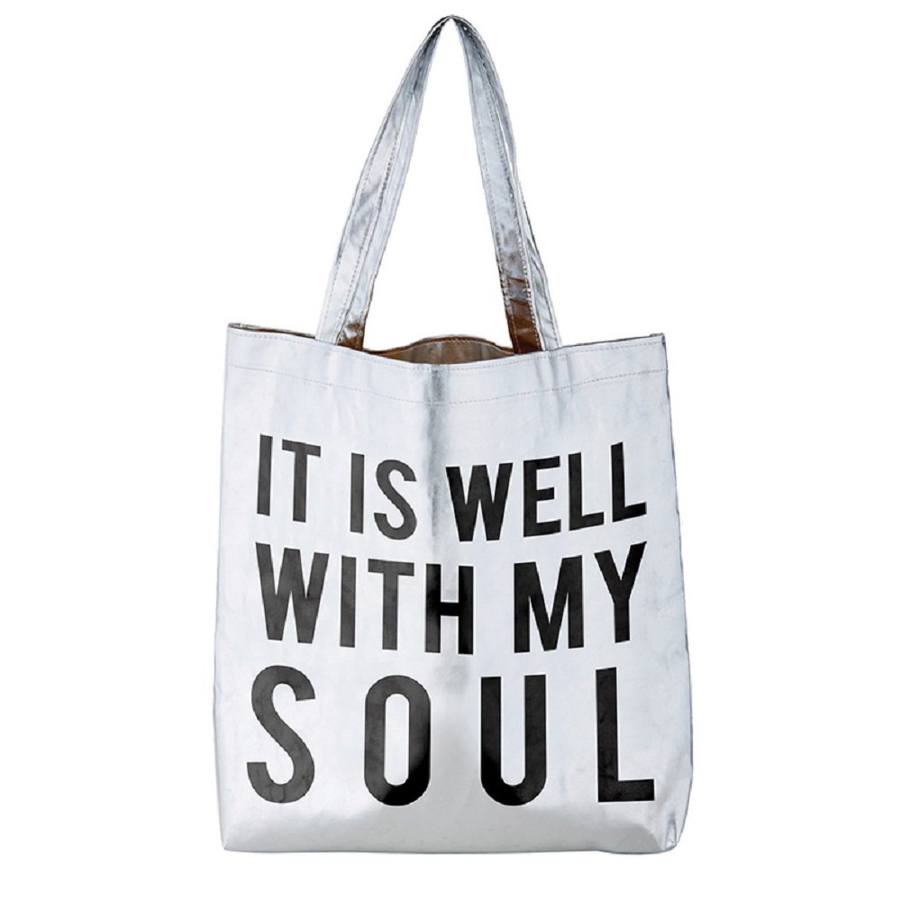 Pack of 2 It Is Well With My Soul Silver Tote Bags. 16'' X 14.5''.