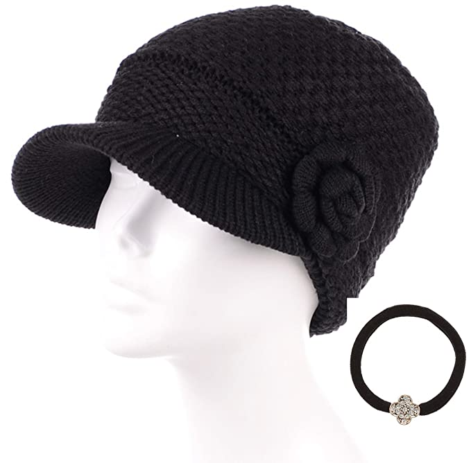 ad13c93f297b5 MIRMARU Women s Winter Cable Knitted Beret Visor Beanie Hat with Scrunchy.( Bowknot