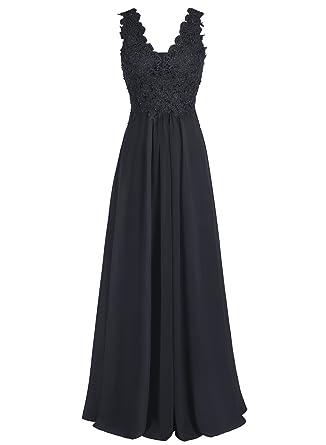 a683fabb46b Bbonlinedress Long Chiffon V-Neck Applique Sleeveless Bridesmaid Gowns Prom  Dresses Black 2