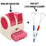 SHOPPPOSTREET Mini Fan & Portable Dual Bladeless Small Air Conditioner Water Air Cooler Powered by USB + 2 PCS Tongue Cleaner are Absolutely Free