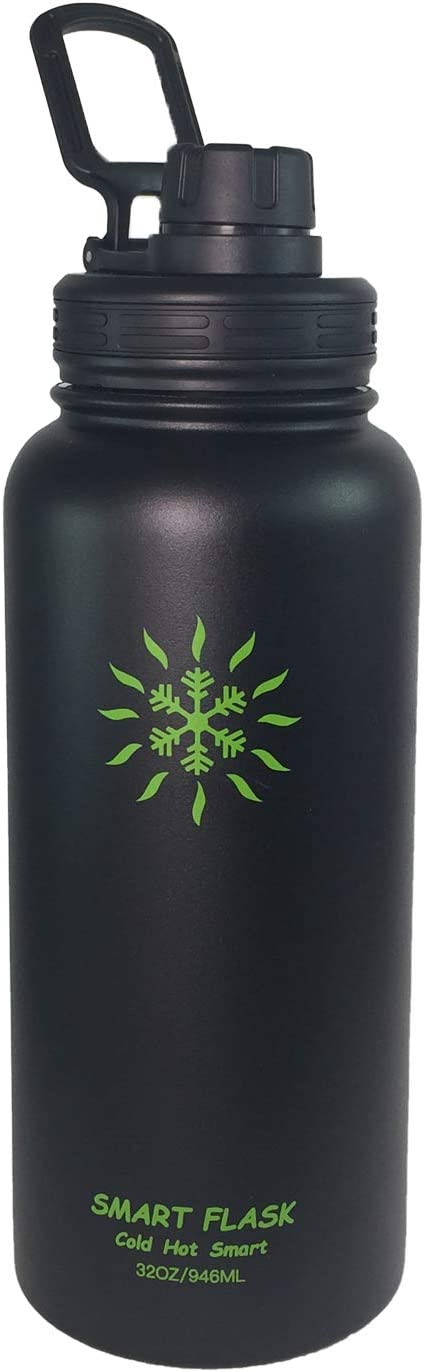 32oz Stainless Steel, Wide Mouth, Vacuum Insulated, Double Walled Water Bottle with Leakproof Sports Lid.