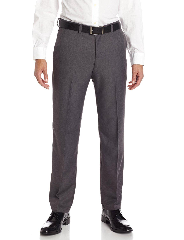 Haggar 41114276498 Men's Cool 18 Heather Solid Pant, Heather Grey - 32 34