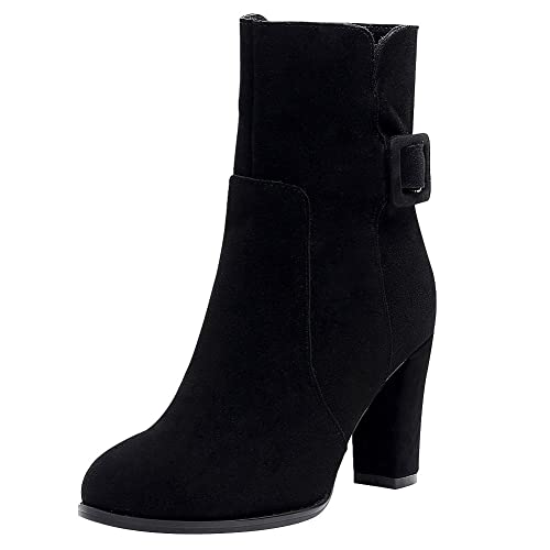 Fair Ladies Nubuck Genuine Leather High Block Heel Boots Women Slip On Mid-Calf Boots With Buckle Strap/Zip