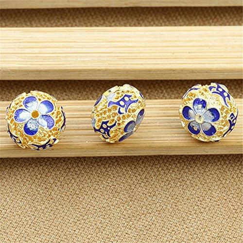 Luoyi 1pc Filigree Golden Plated Sterling Silver Enamel Flat Bead, Flower Pattern Cloisonne Spacer Bead (T098L)