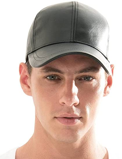 5c9e3c6545d Buy Babji Leather Baseball Black Cap   Hats Online at Low Prices in India -  Amazon.in