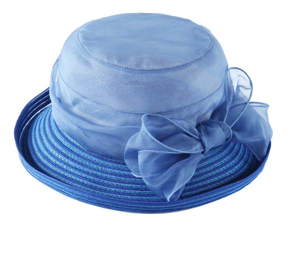 bluee Hat Female Summer Sunscreen Folding Sun Hat Wild Bow Shade Beach Hat ZXCV