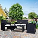 Goplus 4 PC Rattan Patio Furniture Set Garden Lawn Sofa Cushioned Seat Wicker Sofa
