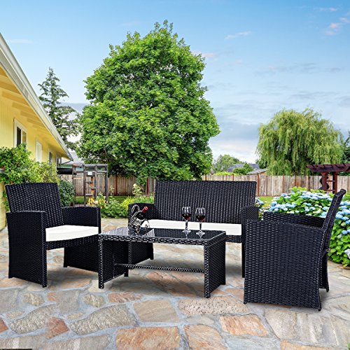 Goplus 4 PC Rattan Patio Furniture Set Garden Lawn Pool Backyard Outdoor Sofa Wicker Conversation Set with Weather Resistant Cushions and Tempered Glass TableTop (Black) Porch Patio Place Furniture Outdoor