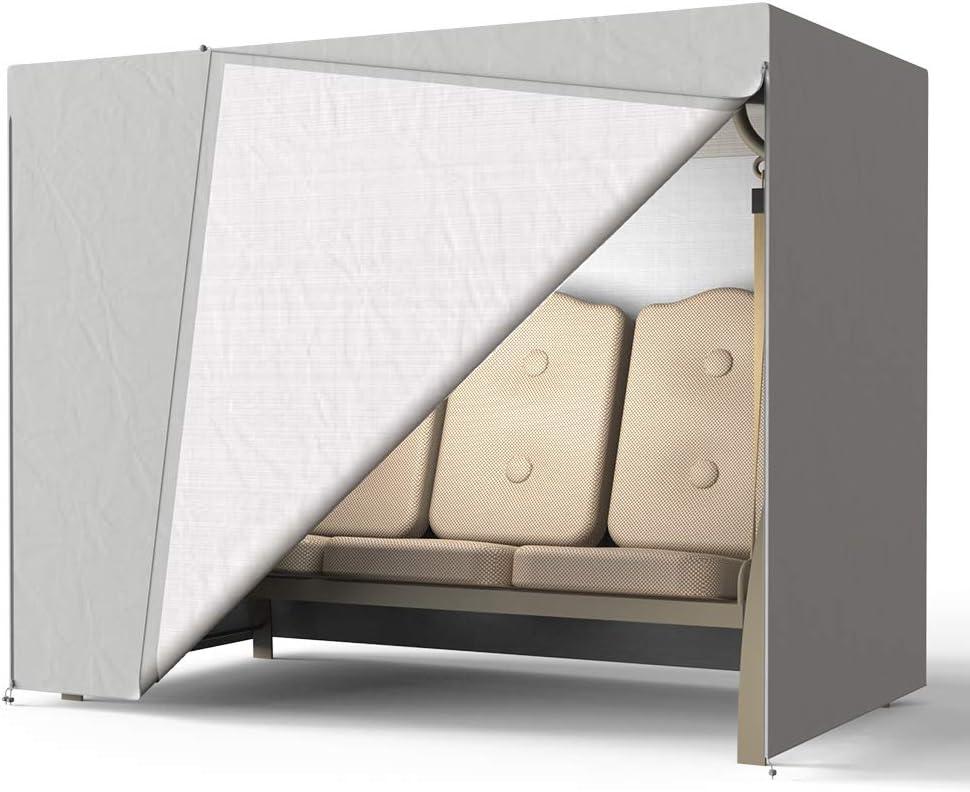 tela Oxford 190T Cubierta para columpio de jard/ín de 3 plazas cubierta protectora para hamaca de patio al aire libre con cremalleras para toldo columpio hamaca muebles gris