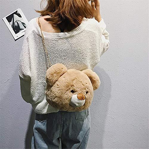 in manico imitazione Pretty Clutch di Borsetta Hombi donna Doll peluche Portafoglio da Cartone Khaki forma orsacchiotto Purse animato a pelle tQCshrd
