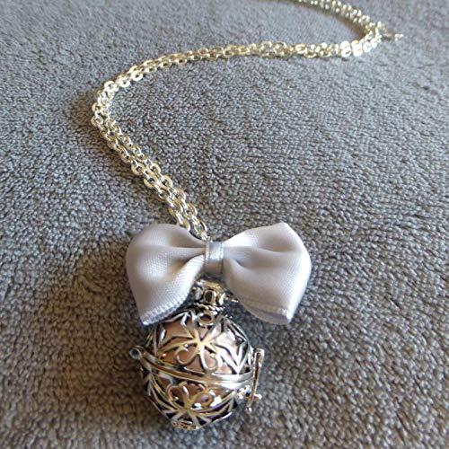 PERSONNALISABLE noeud gris clair Bola de Grossesse avec chaine Kemala bille rose p/âle cage argent/ée etoiles