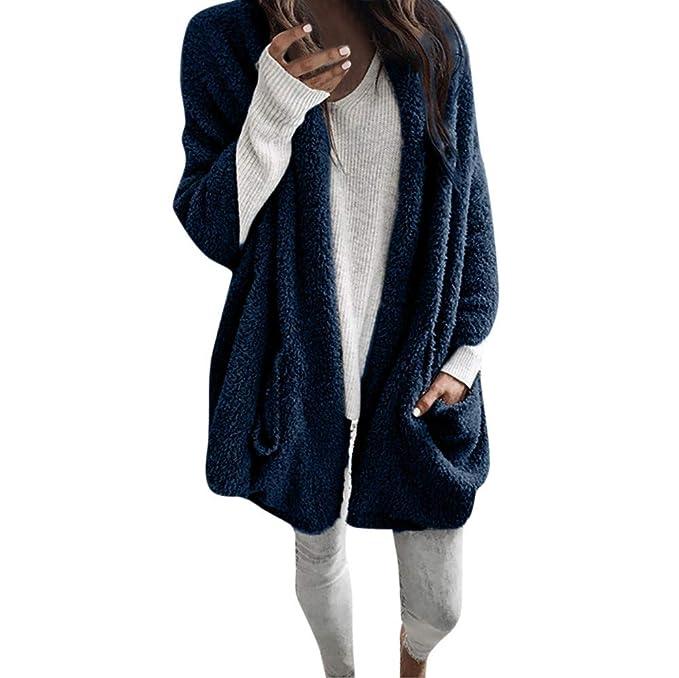 Btruely Herren Chaqueta Suéter Abrigo para Mujer, Chaqueta Encapuchado Abrigos Mujer otoño Manga Larga Gruesa con Capucha de Punto Abierto Chaqueta de Punto ...