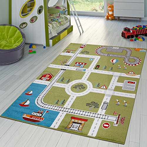 (Paco Home Kids Rug with Design City Harbor Town Streets Play Mat for Toy Cars in Green, Size:3'11