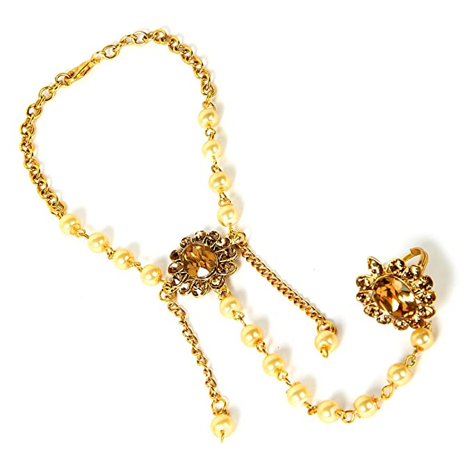 Mano de Oro Panja India Joyas Bollywood Kundan Mano Cadena Partido Wear Pulsera Perla Piedra Panja