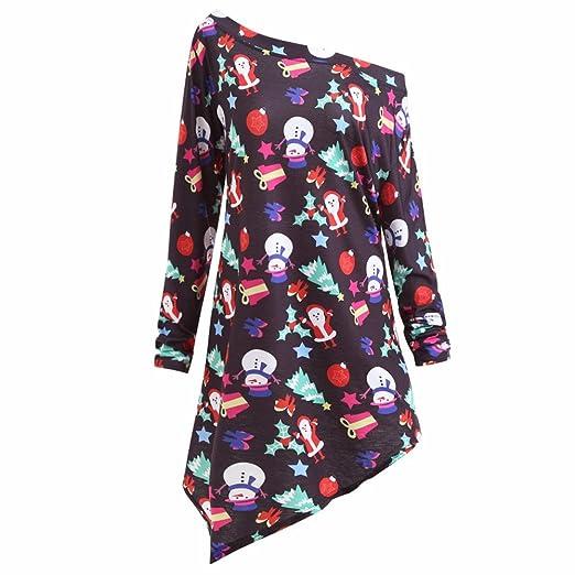a1992e0e60c83 Amazon.com  Womens Casual Dress Tops Long Sleeve Sexy Cold Shoulder  Christmas Print Irregular T-Shirt Dress Party Evening  Clothing