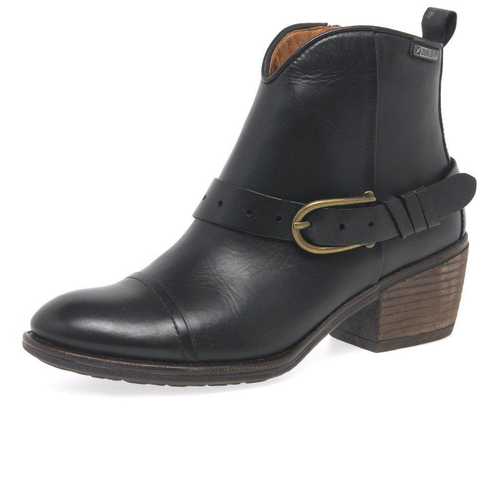 Black Pikolinos Women's Balta Western Buckle Trim Ankle Boots