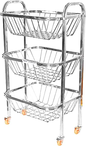 Royal Sapphire Stainless Steel Fruit and Vegetable Trolley 3 Shelves with Wheels