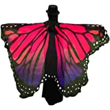Creazy Soft Fabric Butterfly Wings Shawl Fairy Ladies Nymph Pixie Costume Accessory (Hot pink)