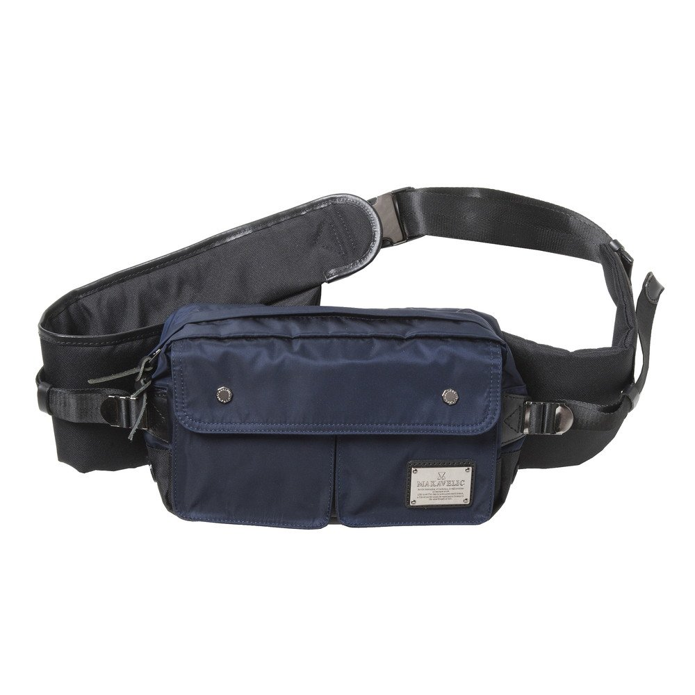 MAKAVELIC SIERRA DOUBLE POCKET WAIST BAG single strap backpack 3105-10302 NAVY/BLACK by MAKAVELIC