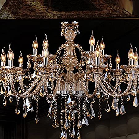 Chandelier homelava crystal cognac color luxury 2 tiers living 15 lights pendant lamp