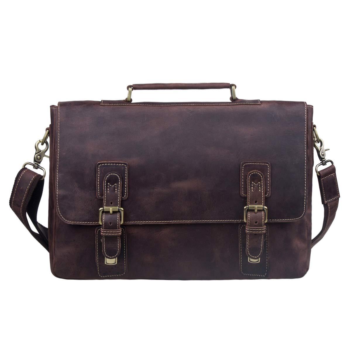 S-ZONE Men's Crazy Horse Leather Satchel Briefcase Shoulder Bag Messenger Bag 14'' Laptop Tote Bag by S-ZONE (Image #2)