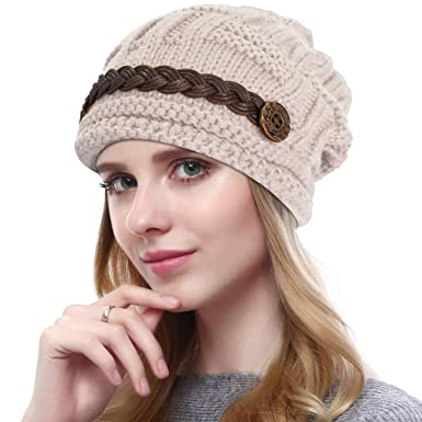 6c530b1c978 YCHY Slouch Women hat Winter Baggy Snowboarding Knit Snow Warm Hat Beanie  Crochet Cap (Beige