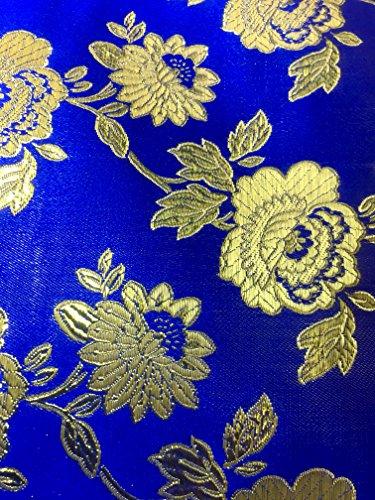 Royal Blue Metalllic Jaquard Brocade Gold Flower Print Fabric Sold by The Yard