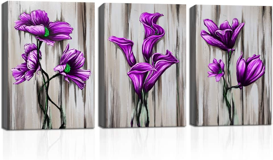 KLVOS 3 Panel Purple Flower Canvas Prints Wall Art Elegant Orchid Poppy Lily on Vintage Grey Background Blossom Floral Artwork Abstract Plant Home Decor Living Room Framed Ready to Hang 12