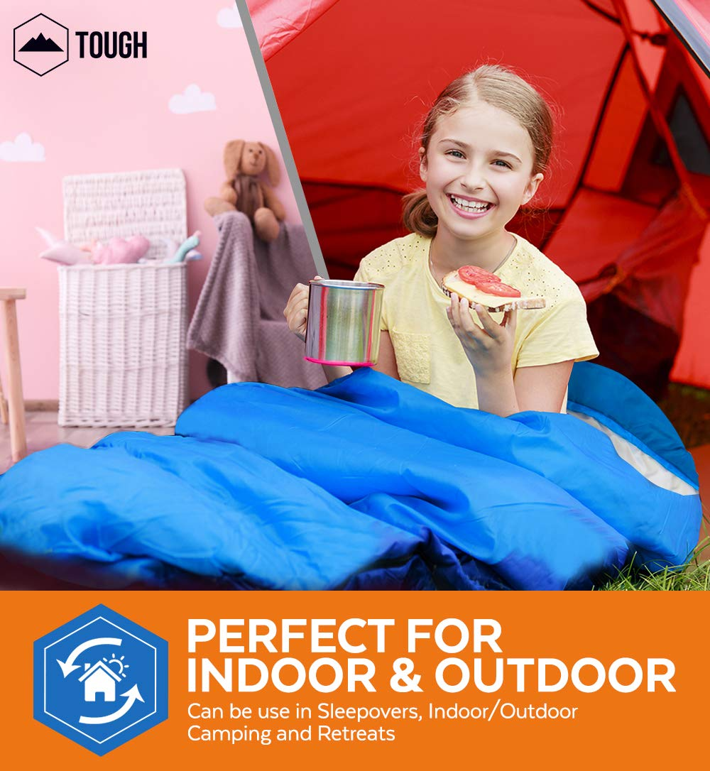 """Tough Outdoors Kids Sleeping Bag for Girls, Boys, Youth & Teens - Perfect for Warm & Cool Weather Camping, Children's Sleepovers & Nap Time - 3-Season, Lightweight & Compact - Fits Kids up to 5'1"""" 8"""