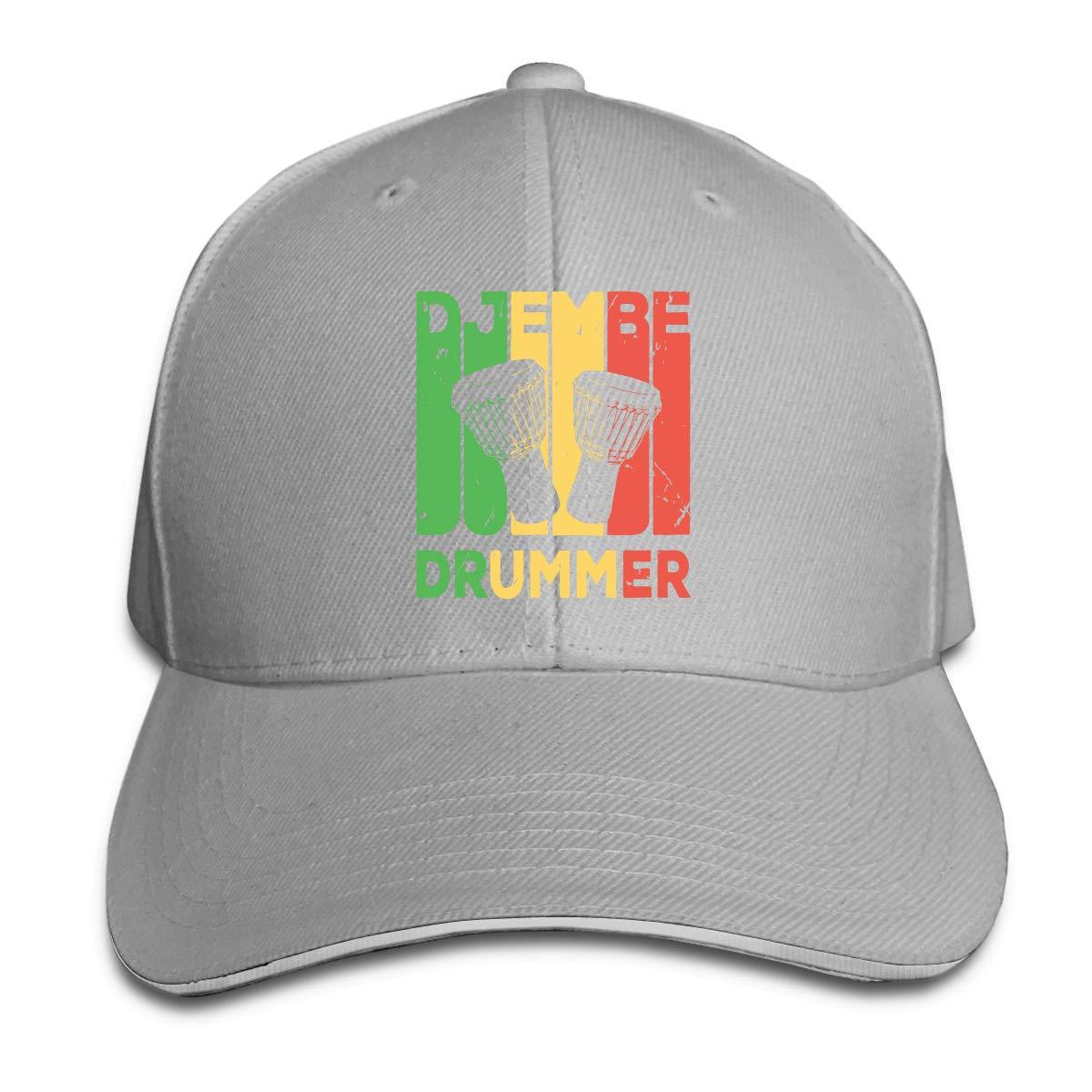 Djembe Drummer Vintage Outdoor Snapback Sandwich Cap Adjustable Baseball Hat Plain Cap