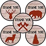 Lumberjack Party Thank You Sticker Labels - Plaid Wedding Birthday Baby Shower Favors - Set of 50