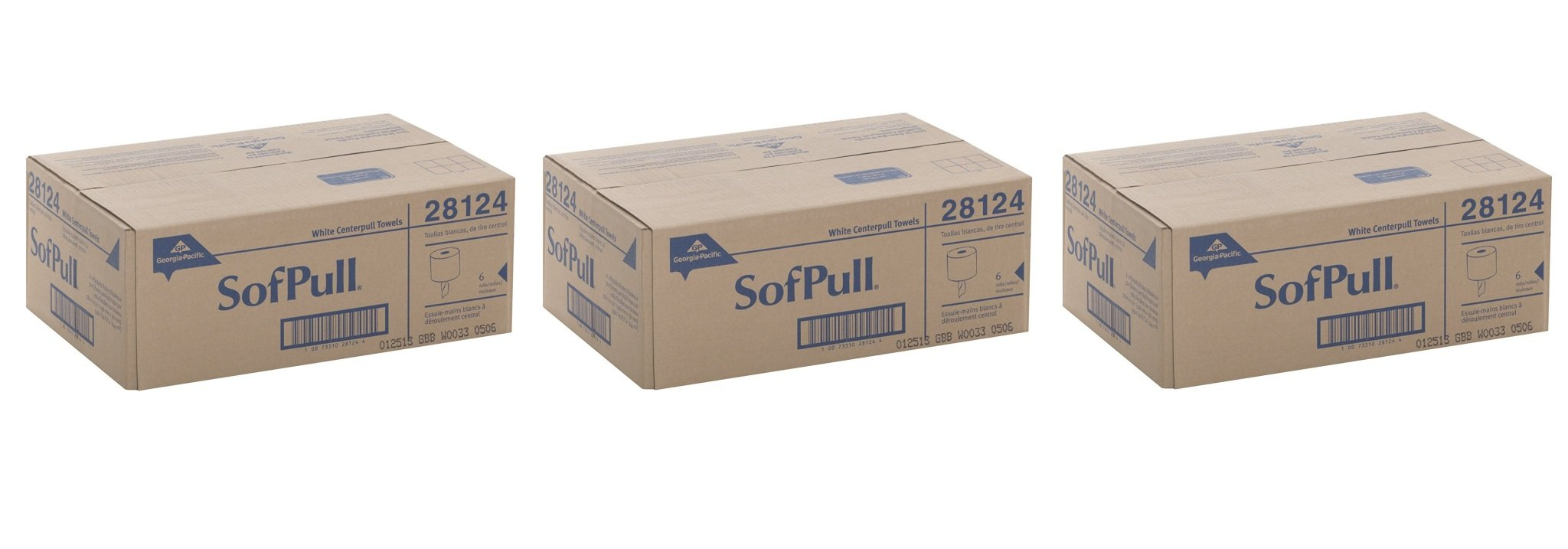 Georgia-Pacific SofPull 28124 White vdVapc Premium 1-Ply Regular Capacity Centerpull Paper Towel, 3Pack (6 Rolls)