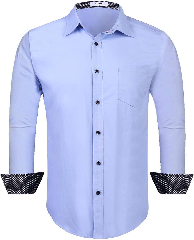 Aibrou Camisa Hombre Manga Larga Camisas Formales Negocios Camisa de Vestir Hombre de Algodón Regular Fit Talla Grande: Amazon.es: Ropa y accesorios