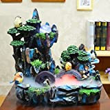 GL&G Resin fashion gift Creative Home office Lucky Decorations Tabletop Scenes rockery Water Indoor Tabletop Fountains Humidifier Parts High-end Business gift Ornaments,392036cm