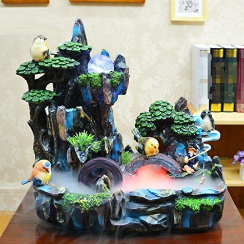 GL&G Resin fashion gift Creative Home office Lucky Decorations Tabletop Scenes rockery Water Indoor Tabletop Fountains Humidifier Parts High-end Business gift Ornaments,392036cm by GAOLIGUO