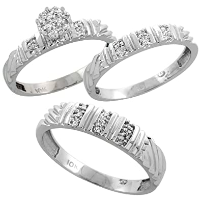 10k white gold diamond trio wedding ring set 3 piece his hers 5 - 3 Piece Wedding Ring Sets