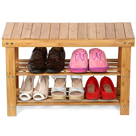 shoe rack bench bamboo boot organizer seat storage entryway 100 natural bedroom