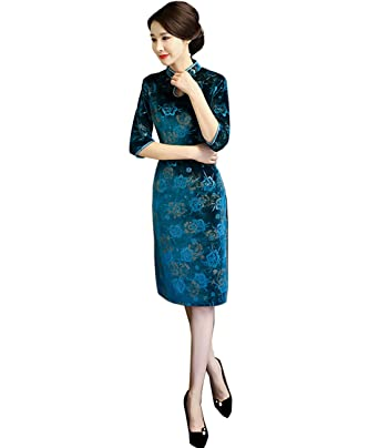 6edda9f784b6 Femirah Women's Chinese Floral Embroidery Qipao Cheongsam Dress Velvet  Evening Party Gown (US 2,