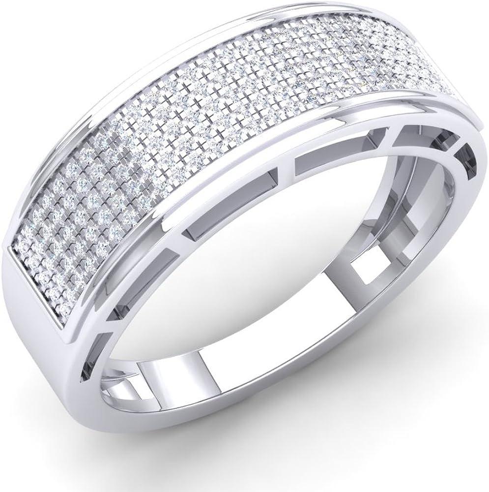 Dazzlingrock Collection 0.40 Carat (Ctw) 10K Gold Round White Diamond Men's Hip Hop Anniversary Wedding Band