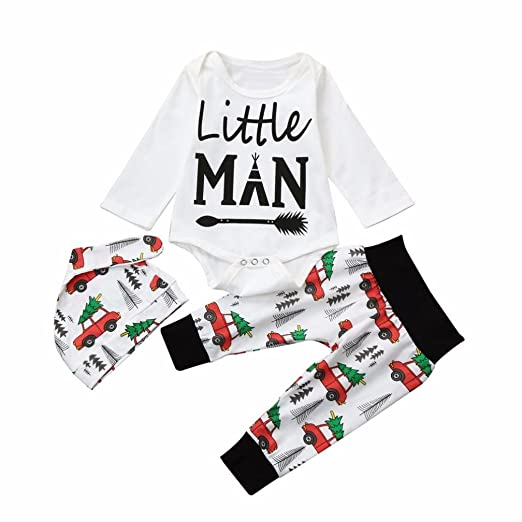 ec8a45ce7a9 Amazon.com  TiTCool Little Man Newborn Infant Baby Boy Girl Romper  Tops+Pants 3PCS Outfits Set White Yellow  Clothing