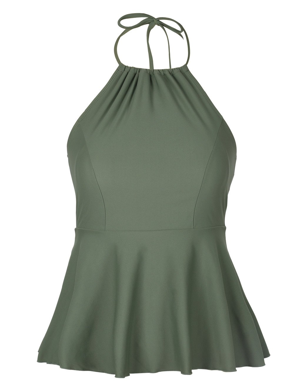 Hilor Women's High Neck Swimwear Halter Swimsuit Ruffle Hemline Tankinis Tops Army Green 10