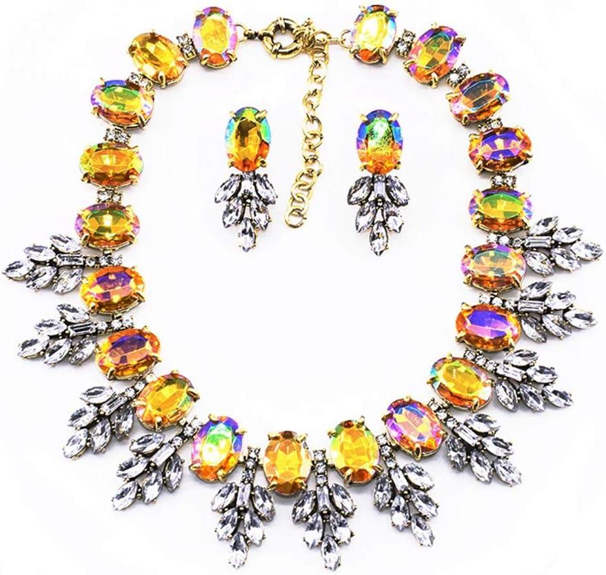 YFFSP Zafiro Mujer Pendientes Colgantes De Circonita Cúbica Collar Hoja De Corte Ovalado Señoras Diamantes De Imitación Elegantes Fiesta Mascarada Compromiso,F