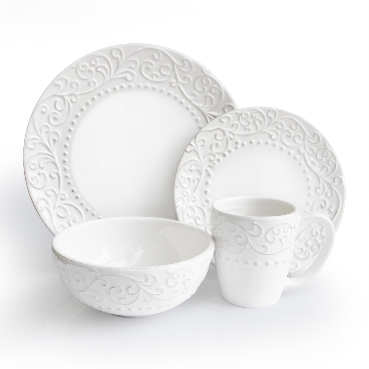 Christmas Tablescape Décor - Bianca white 16-piece dinnerware set, service for 4 by American Atelier